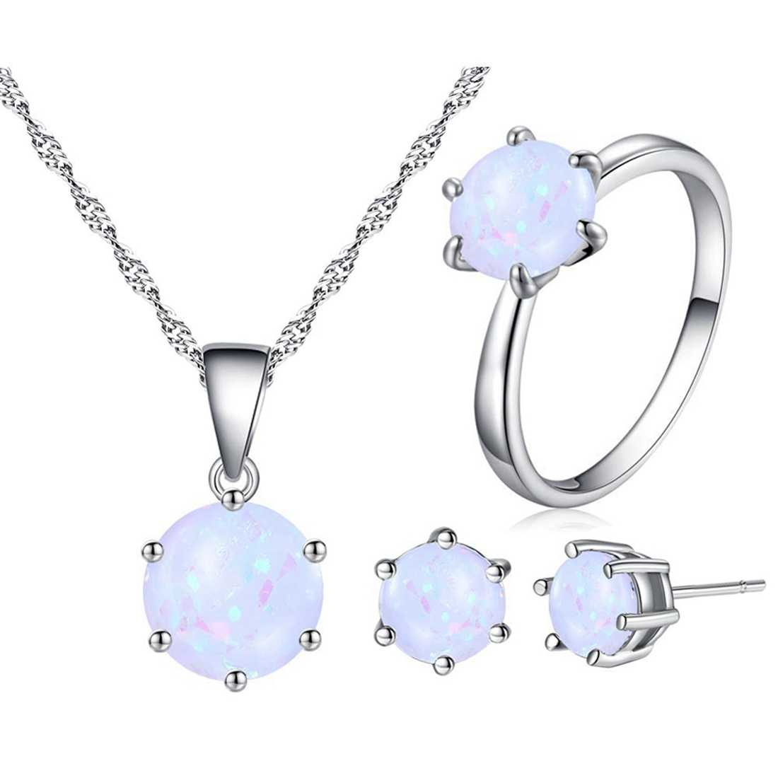 Beiver Opal Jewelry For Women Round Shape Pendant Ring Fashion Silver Color Chain Earrings Ring Sets Wedding Party Jewelry