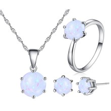 Beiver Opal Jewelry For Women Round Shape Pendant Ring Fashion Silver Color Chain Earrings Ring Sets Wedding Party Jewelry(China)