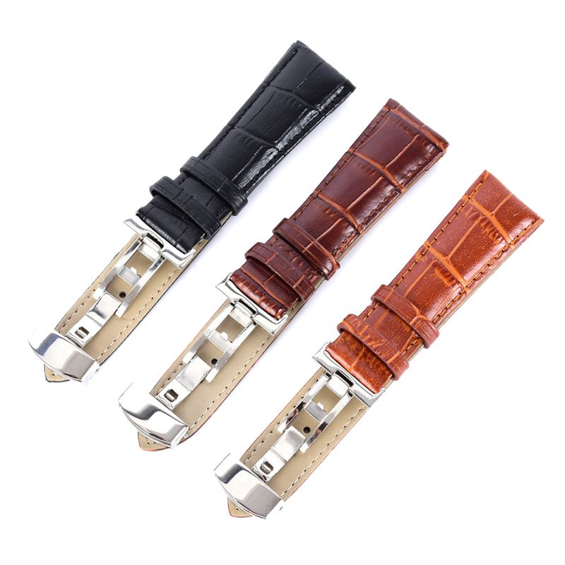 Genuine Leather Strap Polished Stainless Steel Butterfly Clasp Deployant Buckle Watch Band 16-24mm кастрюля linkfair 304