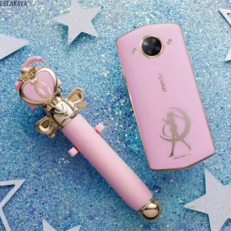 1PCS Action Figure Sailor Moon Beauty Photo Artifact Heart Moon Rod Wand Selfie Extendable Handheld Selfie Stick Audio Ver. Doll