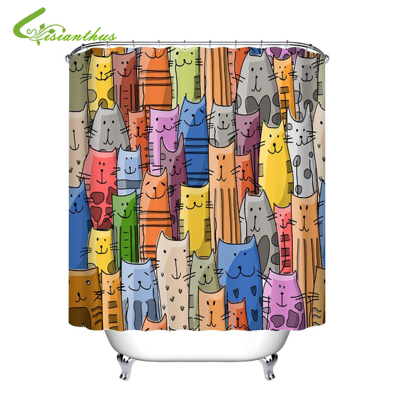 Colorful Cat Printed Bath Waterproof Curtain 3D Polyester Fabric Shower Curtain with 12 Hooks For Mildewproof Bathroom Decor|Shower Curtains| |  - title=
