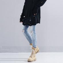 JAYCOSIN ubrania męskie dżinsy w stylu Punk postrzępione spodnie jeansowe nowa moda szczupła znajdujących się w trudnej sytuacji Hole zgrywanie proste dżinsy dla chłopców 2019 tanie tanio Mężczyźni Denim Zipper fly light Luźne Zmiękczania Midweight Pełnej długości Stałe Otwór jeans jacket Men Mid waist jeans