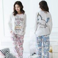 Unicorn Pajamas Autumn Winter Women Cotton Pajama Sets Cartoon ELMO Home Wear Suits Long Sleeves Pajamas