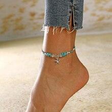XIYANIKE богемский Кристальный браслет для щиколоток с камнем для женщин, очаровательные стразы, браслет на ногу, пляжные украшения на лодыжке, новинка, подарок