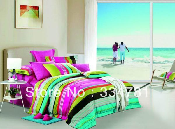 Hot Beautiful 100% Cotton 4pc Doona Duvet QUILT Cover Set bedding set Full / Queen King size colorful stripe flowers OP-91 - jiagen chen's store