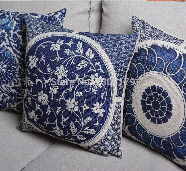 Chinese Style Pillow Cover Blue Decorative Pillows Case Vintage Fl Cushion Home Decor Linen Cotton Cushions For Sofa In From