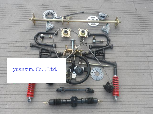 Front Wheel Atv Accessories Refit Homemade Go Kart Steering Rear Suspension Damping Disc Brake Axle Kit on Manco Go Kart Brakes