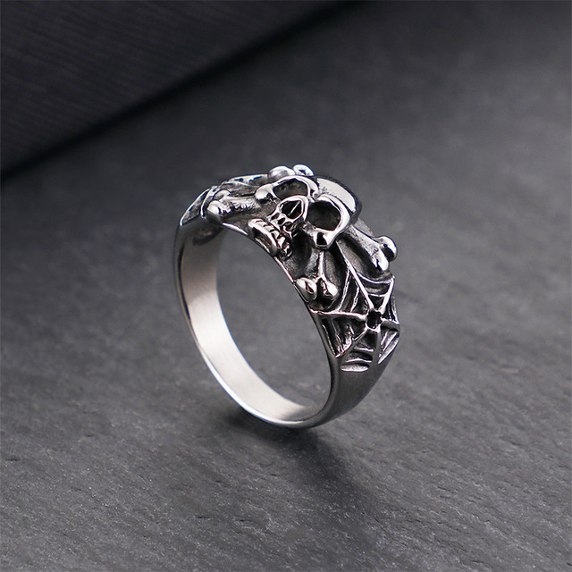 STAINLESS STEEL RETRO SKULL SPIDER RINGS