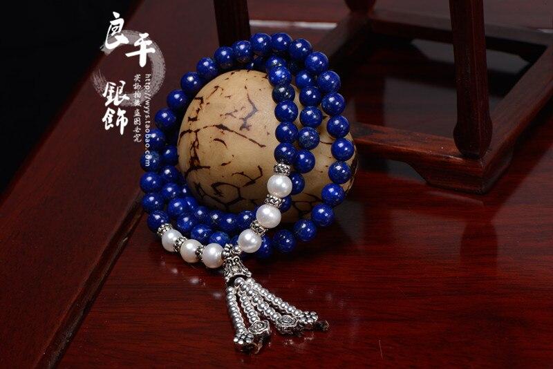 FREE SHIPPING S925 pure silver bracelet Women natural lapis lazuli pearl silver bracelet Women necklace gift dual