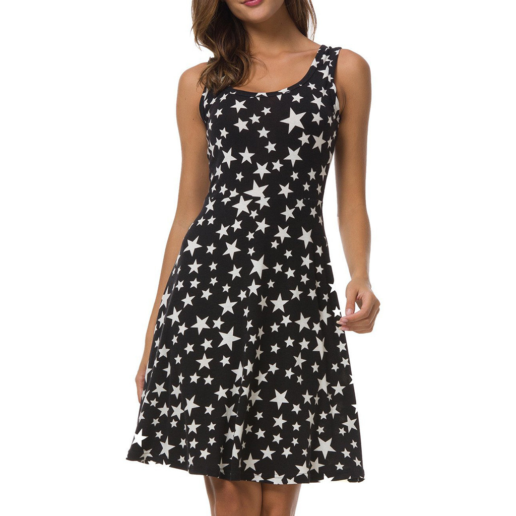 d536417d80d5c 2019 New Black Color Casual Ladies' Round Neck Dress Women Sexy Sleeveless  Star Print Evening Party Prom Swing Short Dress #C-in Dresses from Women's  ...