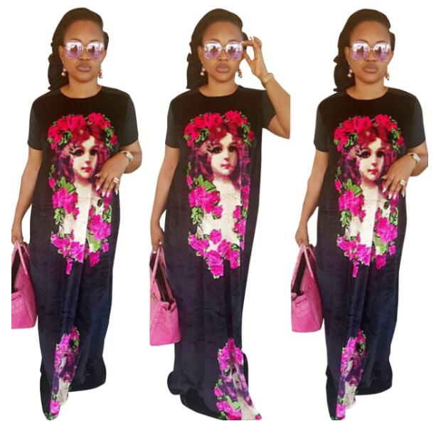 2019 New Arrival Sexy  Style African Women Beauty Plus Size Printing Dress