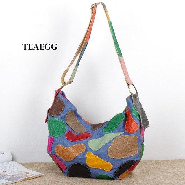 Cor do contraste de cor de couro com denim tendência ocasional pacote macio das senhoras grande saco saco Do Mensageiro Do ombro