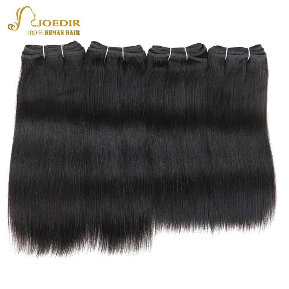 Joedir Pre-colored Brazilian Straight Hair 4 Pcs One Pack 190 Gram Brazilian Yaki Human Hair Bundles Weave Color 1 & 1B Non Remy