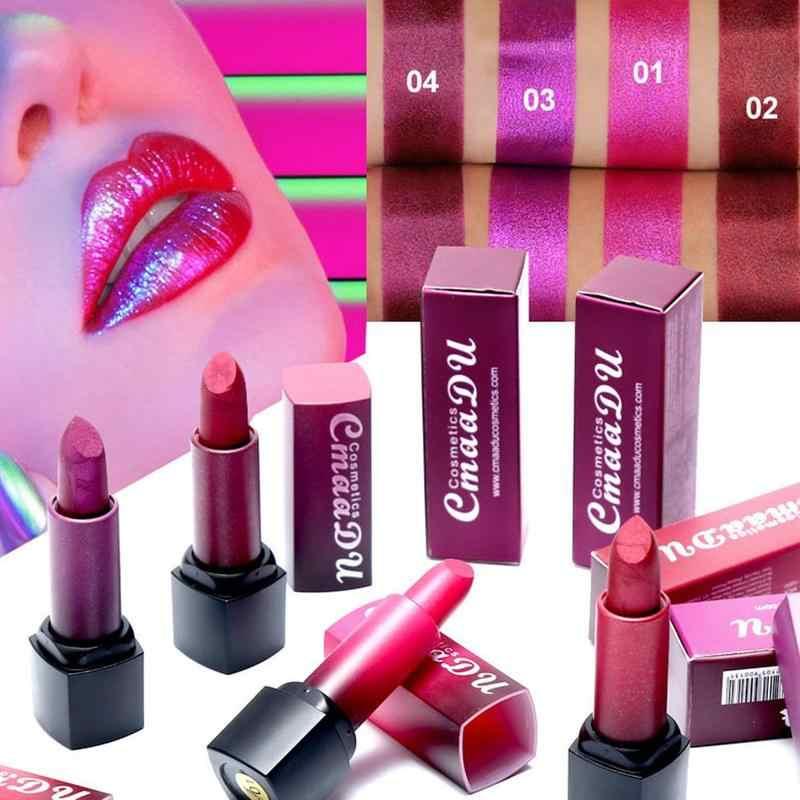CmaaDu לחות מתכת כהה אדום סגול שפתון מבריק הבלחה שפתיים איפור Pearlescent שפתונים עמיד עמיד למים שפתיים מקל
