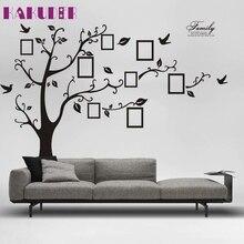 Grand kakuder superior 180 cm * 250 cm negro 3d diy foto tree pvc wall stickers/adhesivo pared de la familia pegatinas arte mural decoración para el hogar