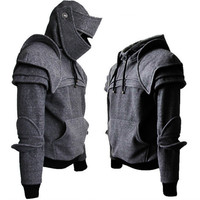 Cosplay medieval vintage warrior soldier knight mask armor knee Sweater top jacket Sweatshirt for men autumn and winter costumes