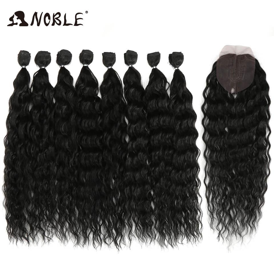 Nobre Cabelo Sintético Tecer Corpo 20-24 Polegada 8 pçs/lote Afro Kinky Curly Feixes de Cabelo Ombre Sintético da Extensão Do Cabelo cabelo Onda