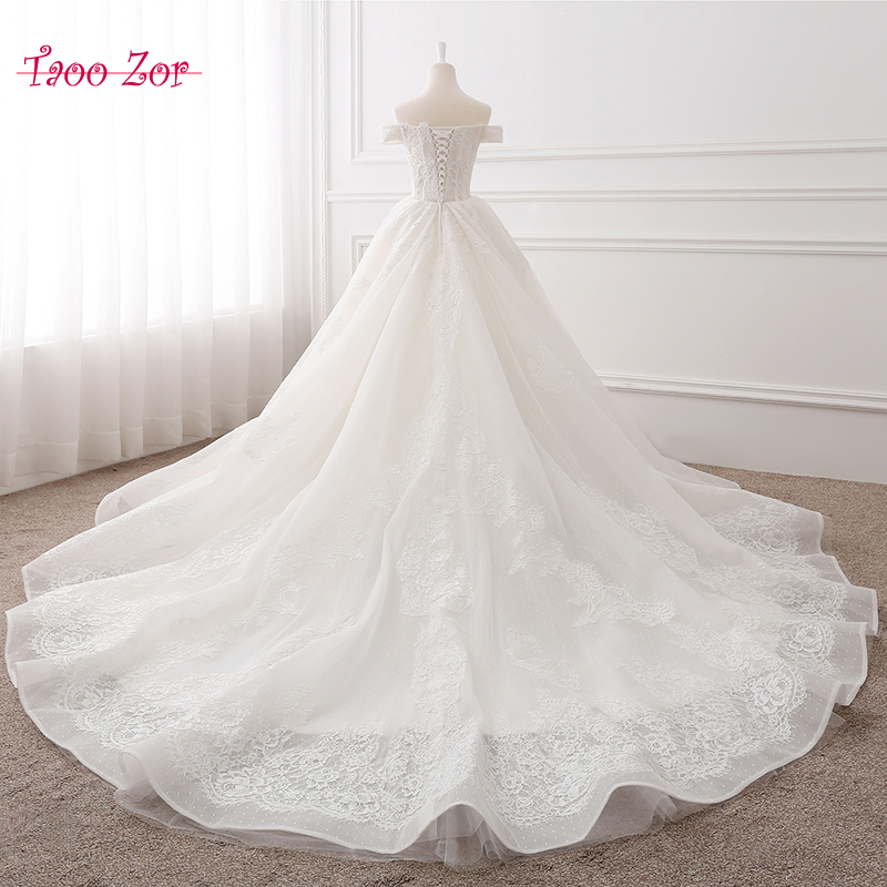 TaooZor Solemn Beaded Pearls Lace A-Line Wedding Dresses 2017 Real Photo Boat Neck Off the Shoulder Chapel Train Robe De Mariage