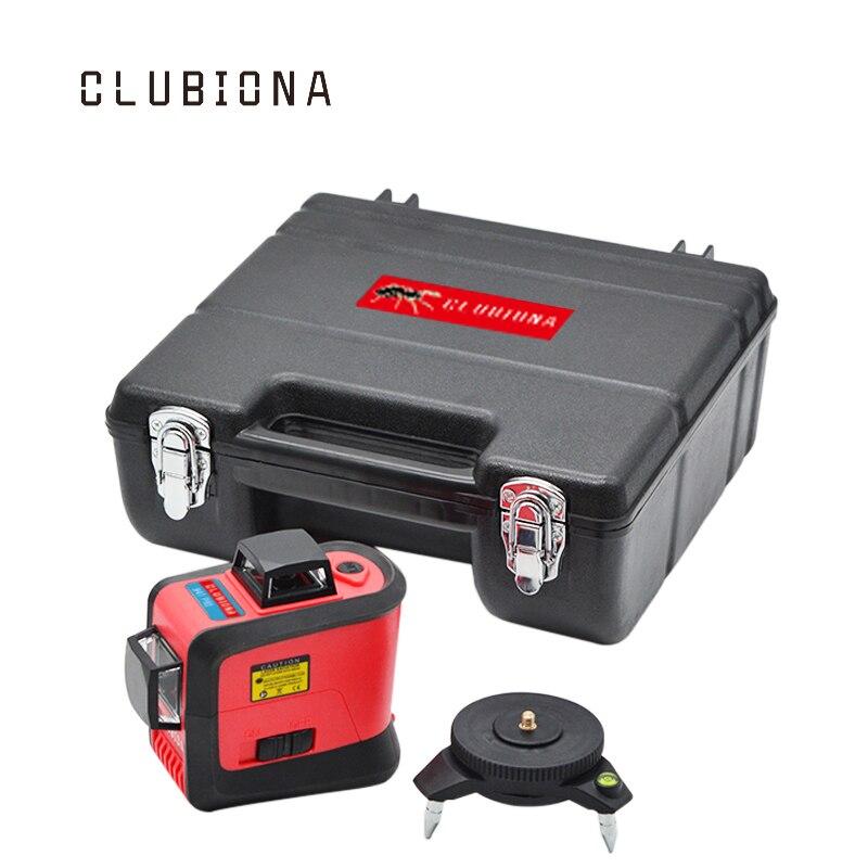 Clubiona 3D 360 Поворотный 12 крест уровне лазерных линий с наклоном Slash функции, вертикальные и горизонтальные Супер Мощный приемник OK