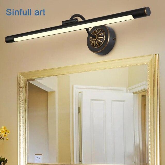 Europea impermeable LED espejo luz americana cobre negro cuarto de ...