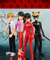 4pcs Lot Miraculous Ladybug Comic Lady Bug Girl Doll Box Action Figure Toys Cute Vinyl Anime