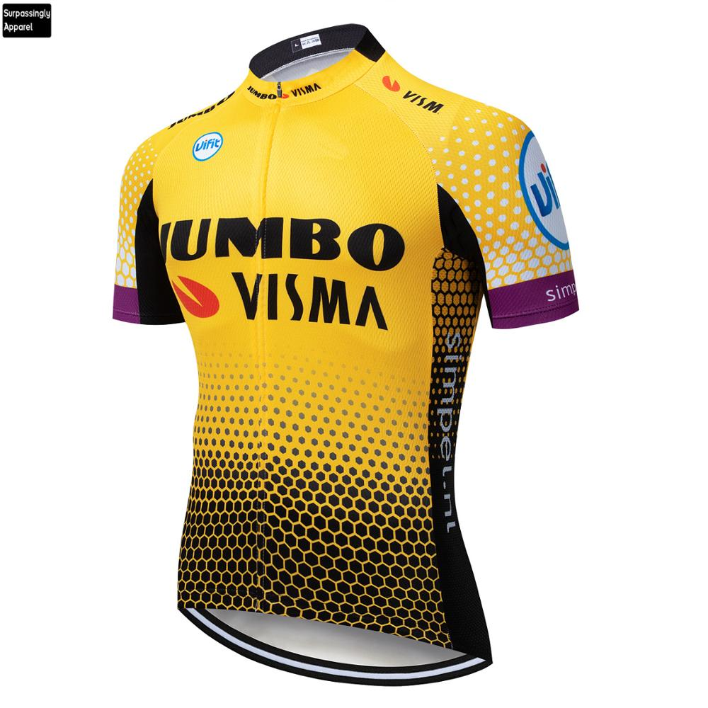 2019 Tour Jumbo VISMA Team Pro MTB Cycling Jersey Yellow Ropa Ciclismo Summer Mens Bicycling Shirts Maillot Bike Wear Outdoor|Cycling Jerseys| |  - title=