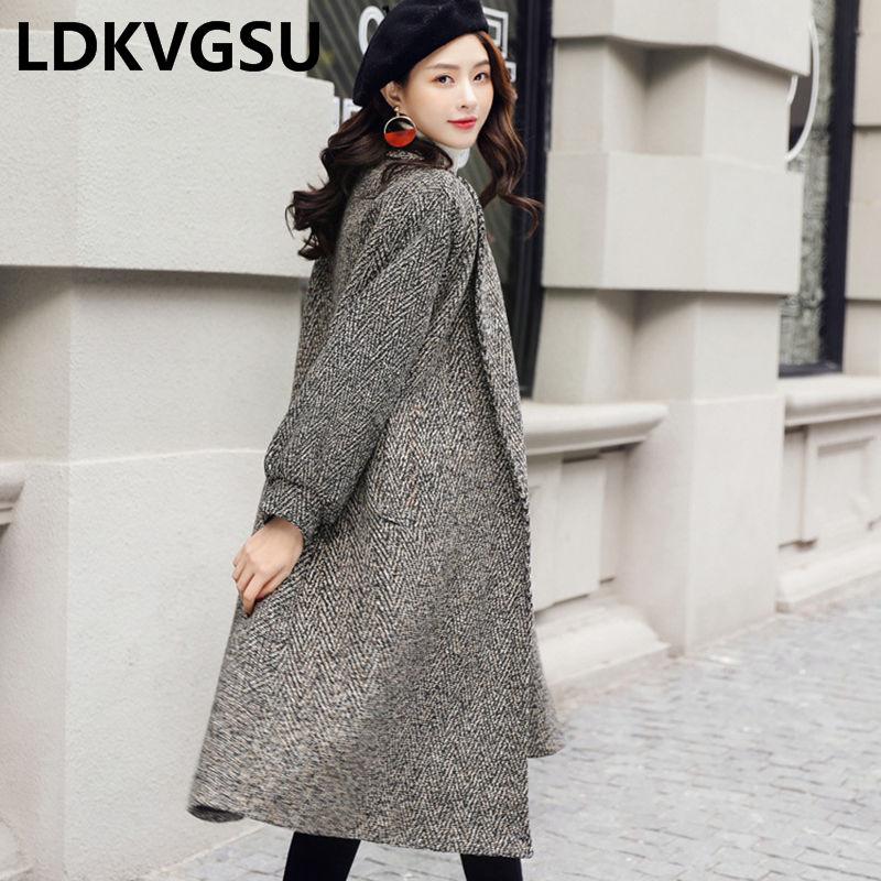 Manches Femmes 2018 Nouveau Longue Is843 Brown Longues Laine Taille Gris Manteau Automne Lâche Veste Hiver Simple Femme black Camel Mode Coréen En Gray De Grande TPwBA