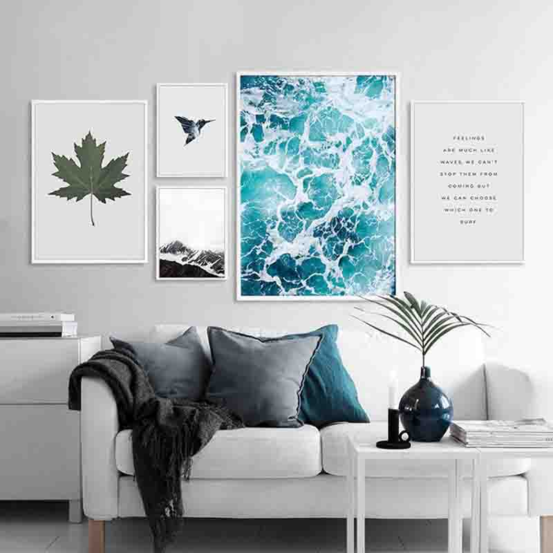 Modern Peaceful Seascape Tropical Plant Positive Life Quotes Art Canvas  Prints Wall Posters Picture Best Mural Home Office Decor