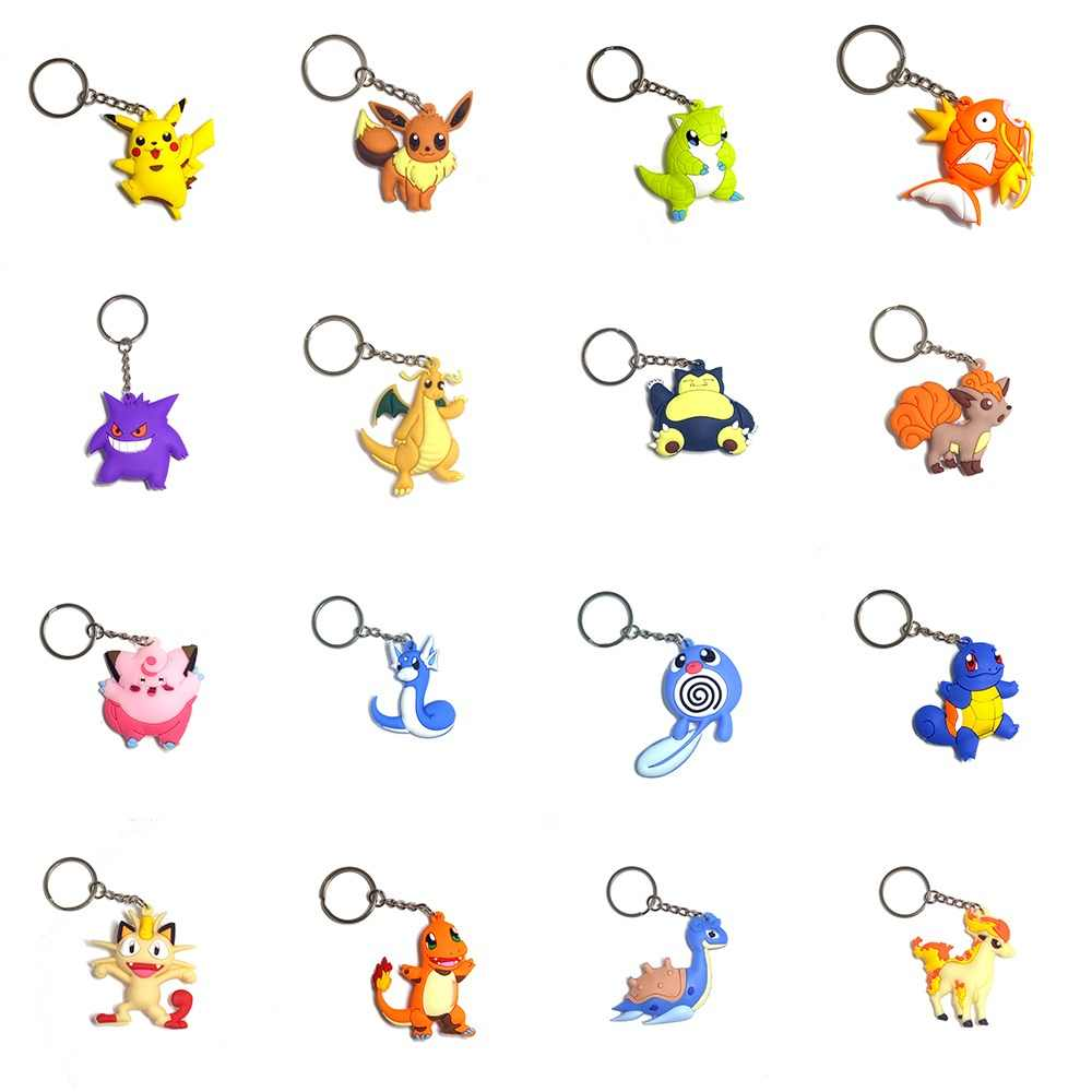 3D Anime Pocket Monsters Pikachu Pokemon Ir Anel Chave Keychain Chave Pingente Titular Mini Charmander Squirtle Eevee Figuras Vulpix