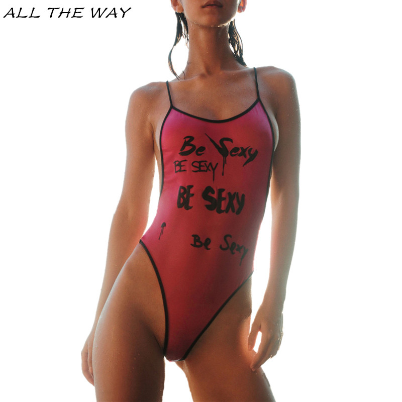 Letter Print One Piece Swimsuit For Women Push Up 2017 Sexy Halter Swimwear Girls Beach Surfing Bathing Suit Biquini Femme YT158 2017 new one piece swimsuit women sexy bikini women push up swimwear swimsuit girls solid color beach sports biquini