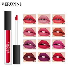 12 Color Matte Liquid Lipstick Makeup Moisturizer Batom Lip Gloss VERONNI Waterproof Make Up stick tint Pigment Long Lasting