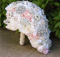 Round Blush Wedding Bouquet for Brides Teardrop Butterfly Brooch Bouquet Alternative Cascading Bouquets Crystal Wedding Flowers