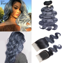hot deal buy remyforte bundles with closure body wave bundles with closure starry gray ombre human hair bundles with closure for noble vip