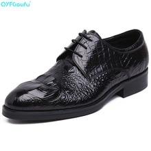 2019 Men Dress Shoes Crocodile Pattern Quality Men Oxford Shoes Lace-up Brand Men Formal Genuine Leather Wedding Shoes недорого