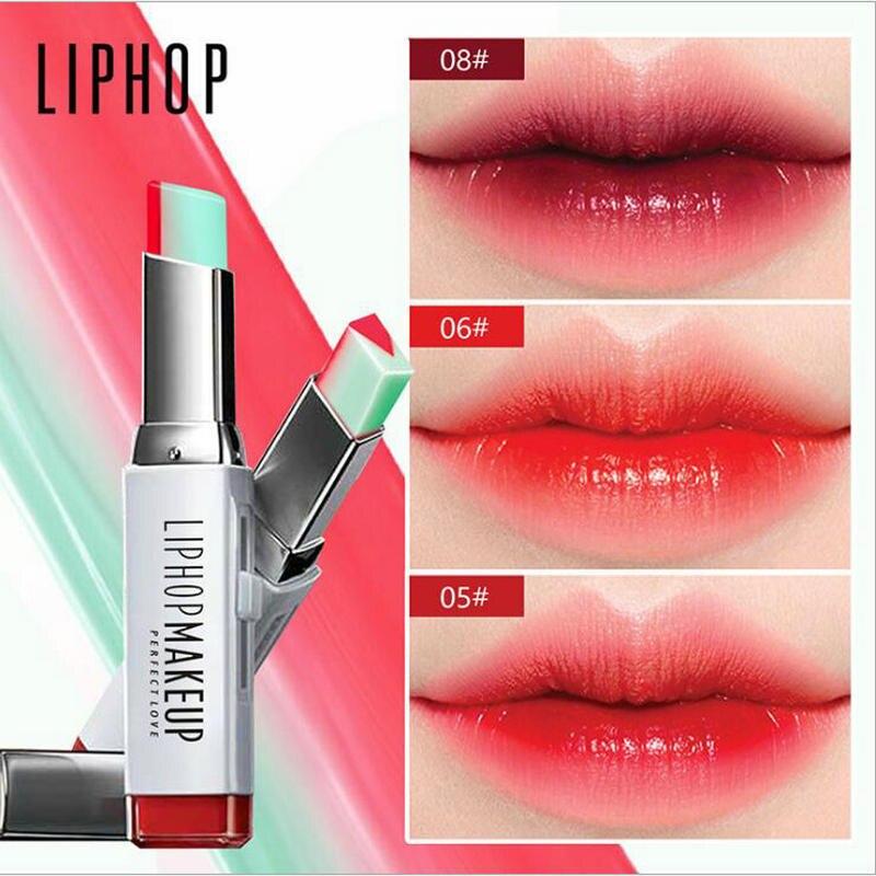 1pcs LIPHOP 8 Colors Lip Gloss Makeup Double Colors Lipstick Moisturizing Gradient Lipsticks Lips Cosmetic Fashion Lip Blam
