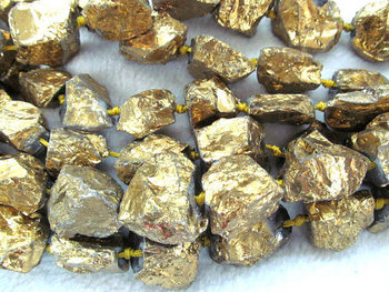 wholesale 2strands 20-35mm Titanium quartz crystal freeform nuggets gold assortment jewelry chains bead 17inch /L