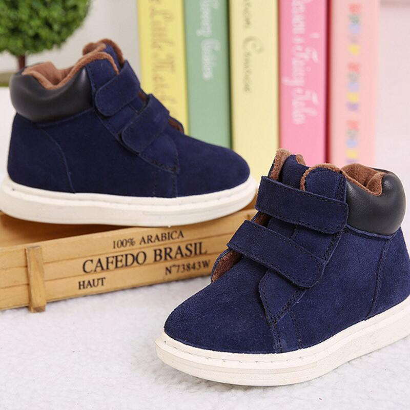 Winter Rubber Children Boots New 2017 Fashion Children Shoes For Girls Genuine Leather Boy Sneakers Sapato Infantil Kids Boots
