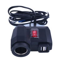 Waterproof Dual USB Motorcycle Charger Cigarette Lighter Power Socket Outlet With Switch