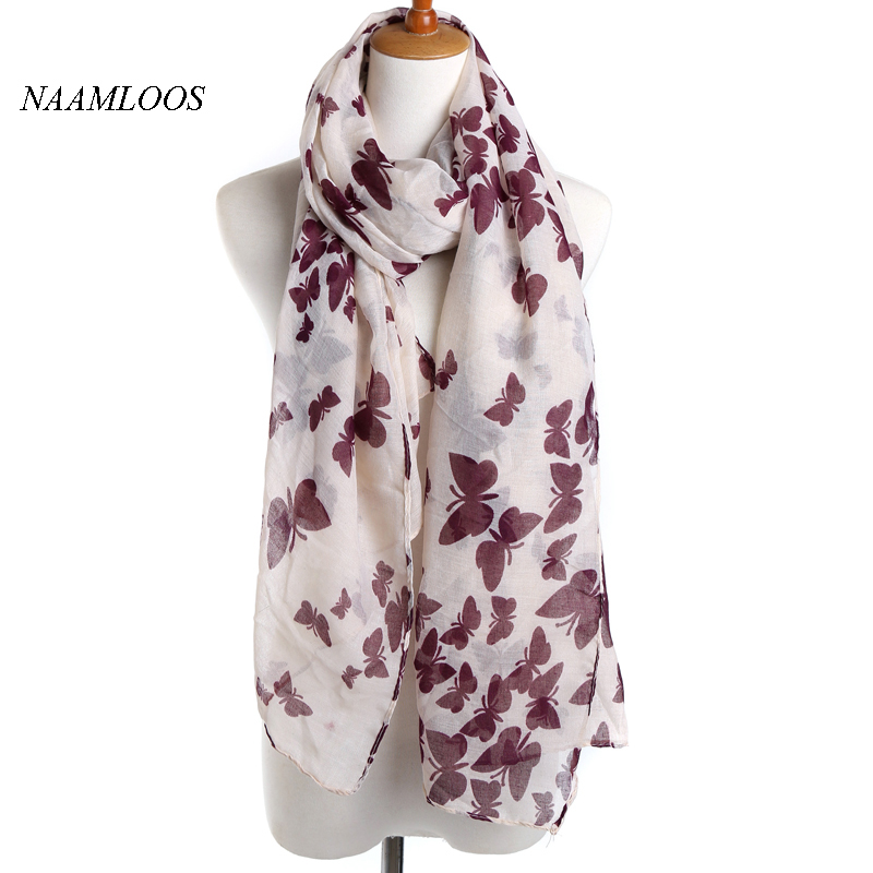 2017 new release Butterfly pattern Spring Brand Scarf for Women Voile multi-functional fashion Shawl <font><b>190*90</b></font> image