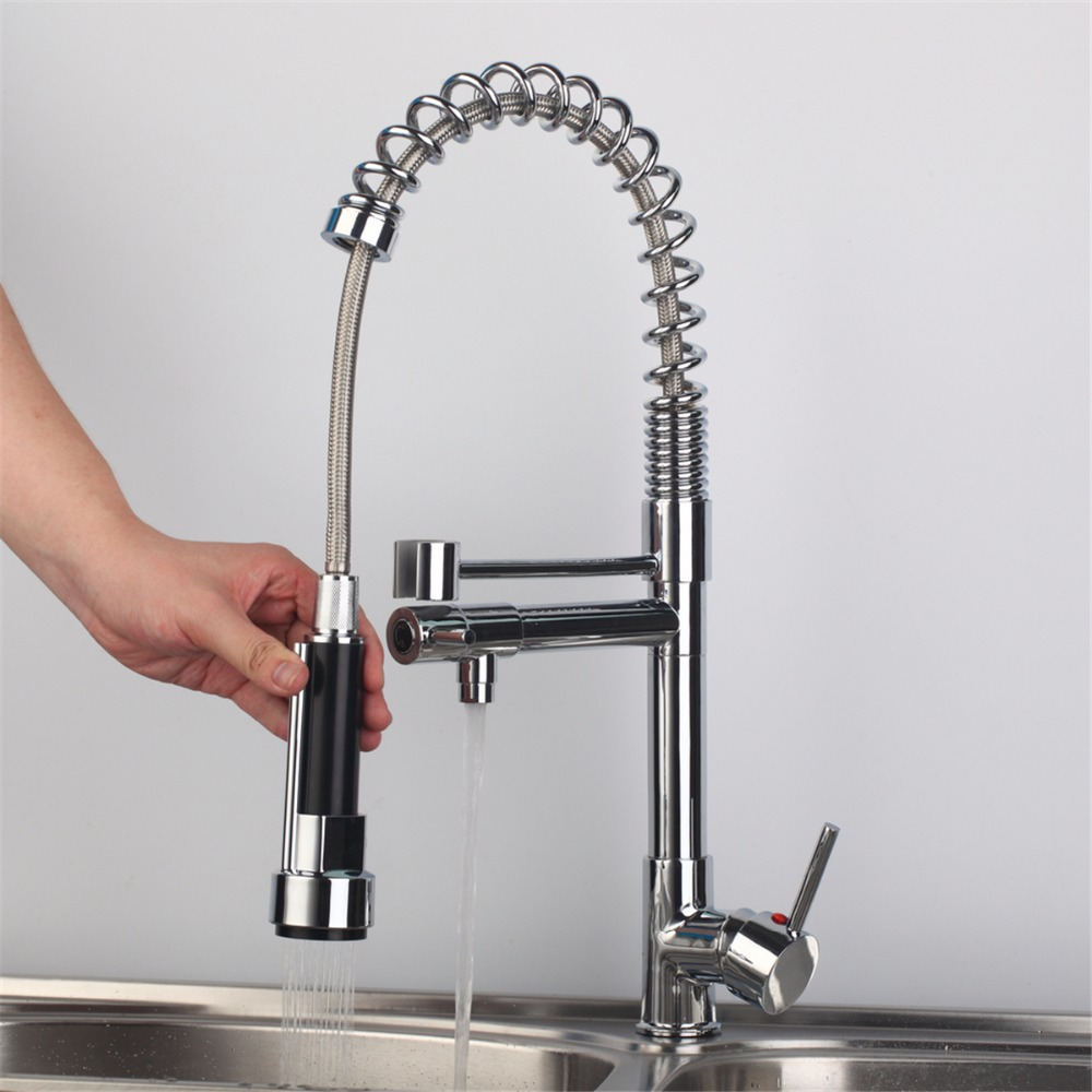 5 Years Warranty Contemporary Chrome Finish Solid Brass Spring Kitchen Faucet Two Spouts Deck Mount Mixer