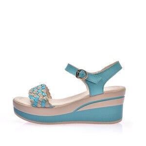 Image 4 - O16U Female Sandals Shoes Wedge Platform Leather Ladies Buckle Sandals High Heels Weave Strap Sandals For Women Summer 2017