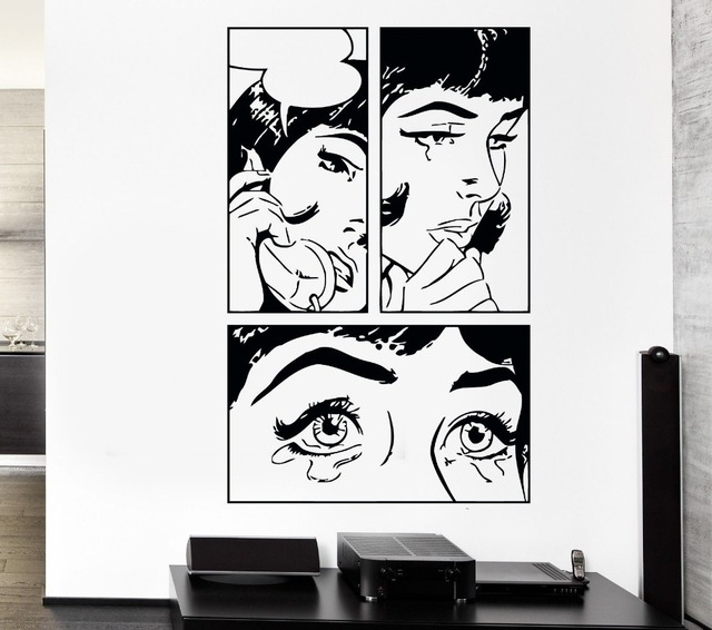 Sexy Girl Woman Teen Crying Cool Pop Art Bedroom Wall Stickers - Wall stickers for bedrooms teens