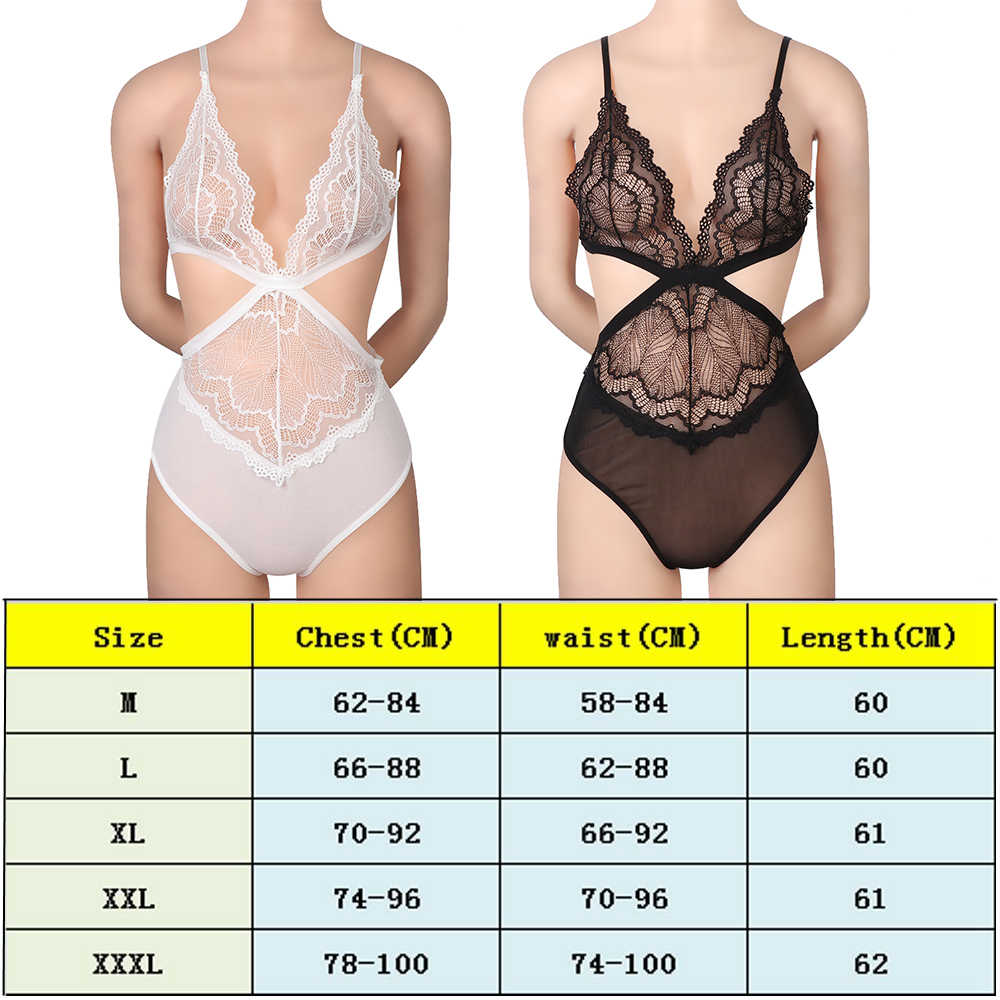 6aa09069bf ... Women Sexy Lingerie Lace Floral G-string Briefs Underwear Transparent Sleepwear  Set Deep V Neck
