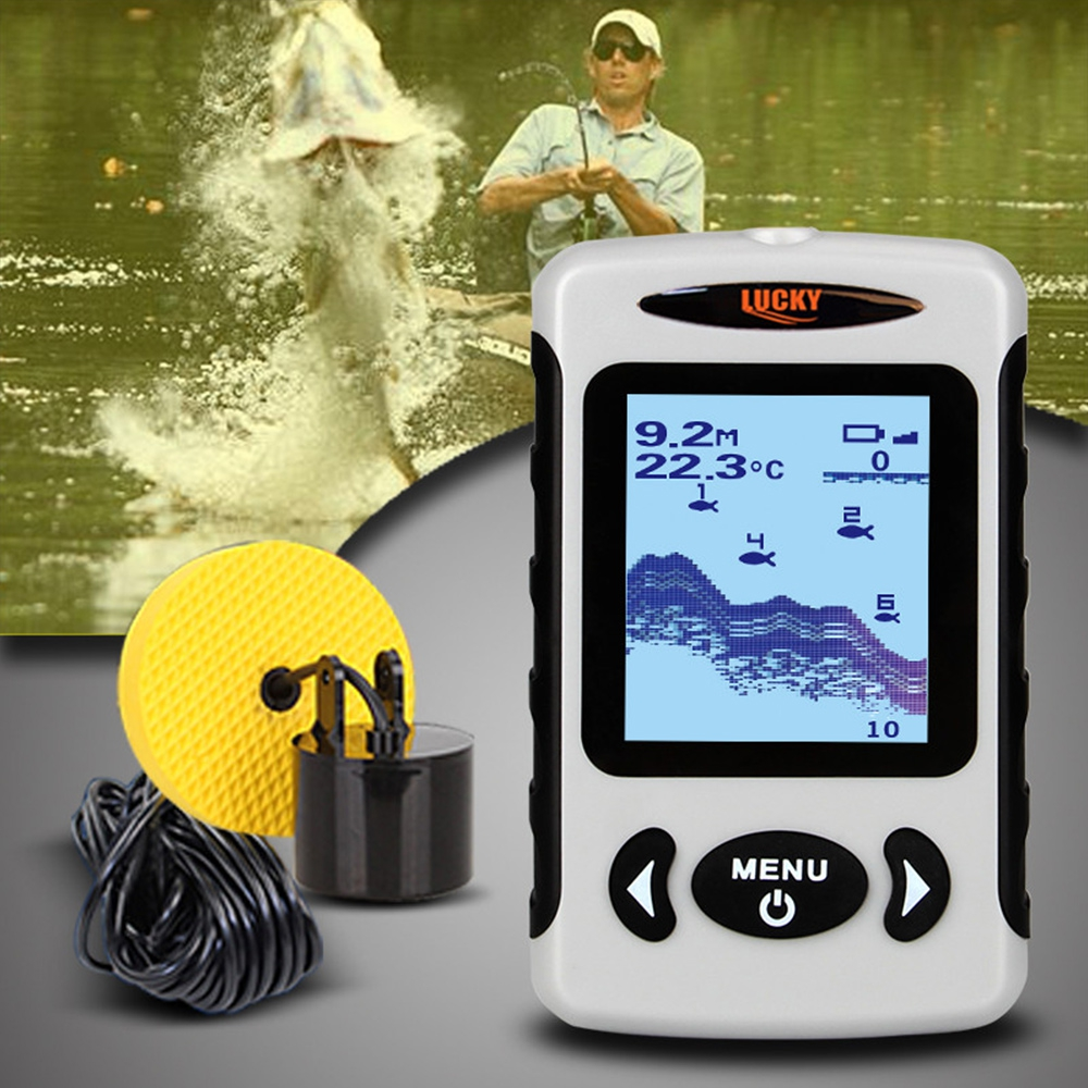 FF718 Portable Fish Finder Echo Sounders 200KHz/83KHz Dual Sonar Frequency 100M Fish Detector For Ice Fishing winter lucky ff718d portable fish finder dual sonar frequency 200khz 83khz 100m detection muti language fishfinder sonar for fishing