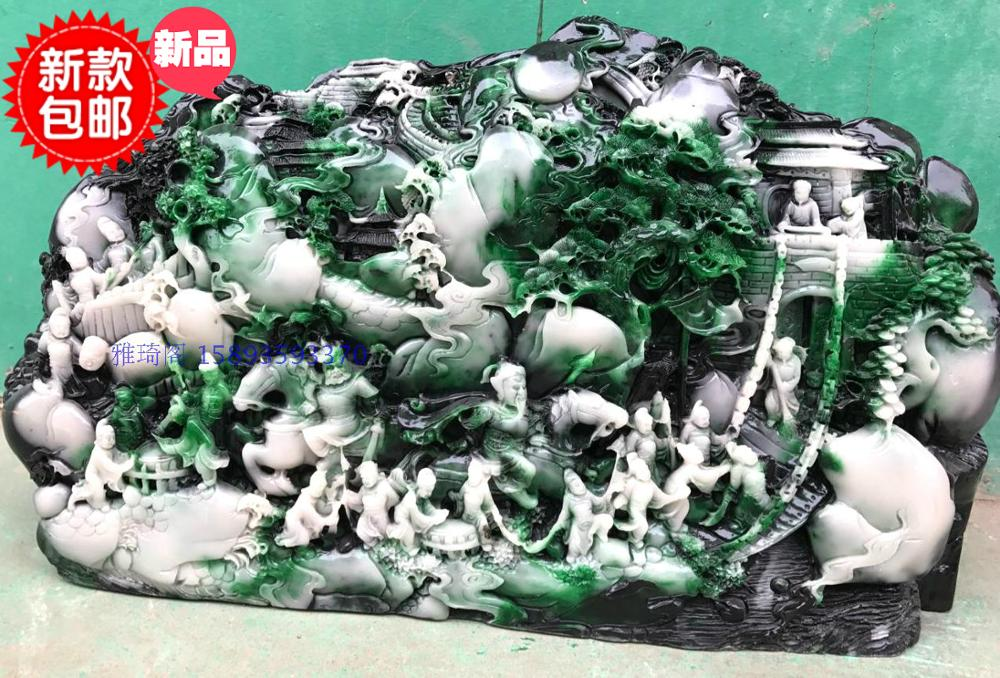 Ручная гравировка работа Античная имитация Шушан Резьба по камню kongchengji цифры оформлены Изысканные ремесленных украшения