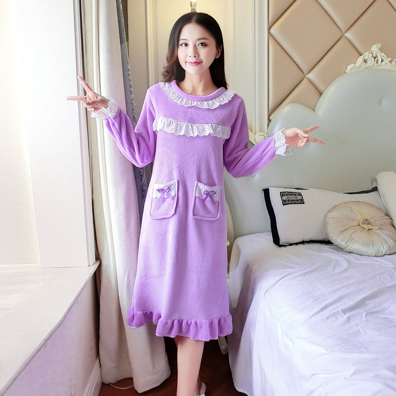 Nightgowns   &   sleepshirts   for women winter ladies long sleeved nightdress students cute sleep dress 2018 hot Christmas Gift