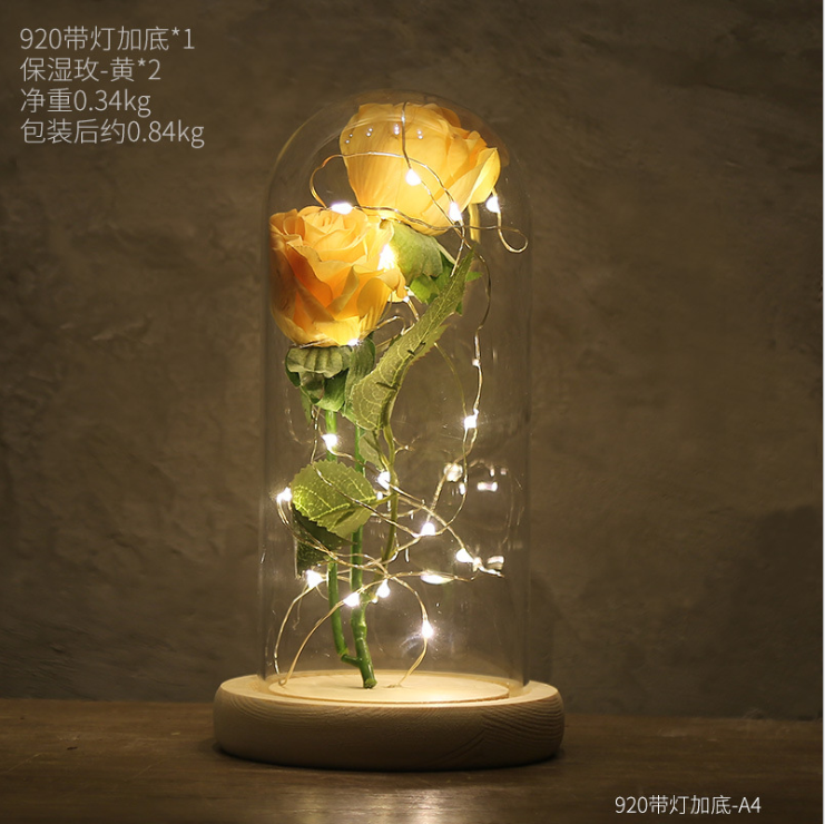 Birthday Gift Beauty and The Beast Yellow Rose A Glass Dome on A Wooden Base for Christmas Valentines Gifts