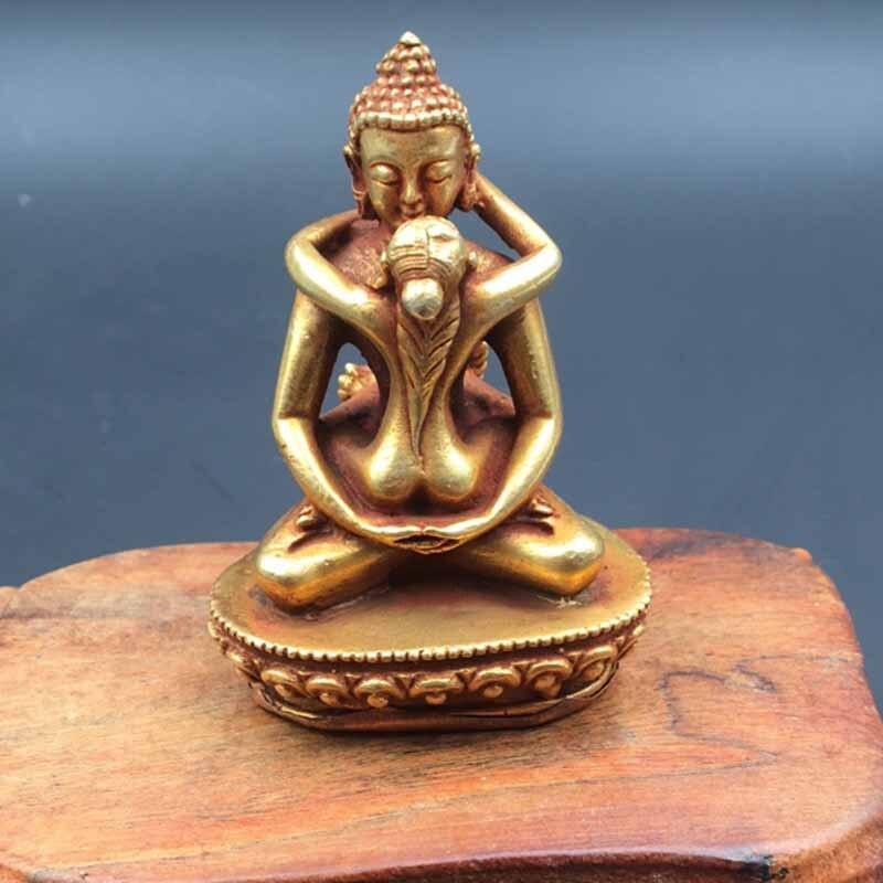 Tibetan Buddha rejoicing Buddha miniature copper antique bronze ornaments office decoration process