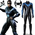 De Halloween cosplay traje de Batman Arkham City Nightwing Cosplay hombres superhéroe Batman costum cosplay de custome hecho