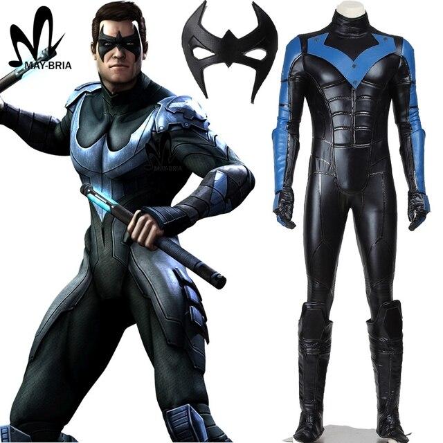 Halloween cosplay Batman costume Arkham City Nightwing Cosplay Costume adult  men superhero Batman cosplay costume custom